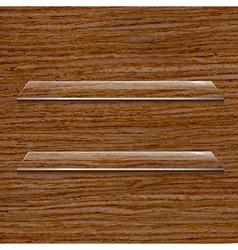 Glass Shelf Set On Wooden Background vector image