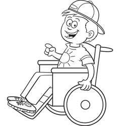 Cartoon boy in a wheelchair vector