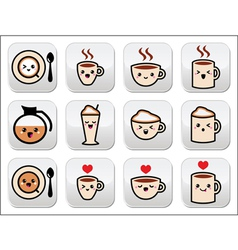 Cute coffee cappuccino and espresso kawaii button vector