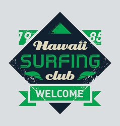 Surfing tee vintage design vector