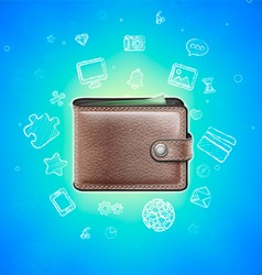 Leather Wallet with Glowing Icons vector image