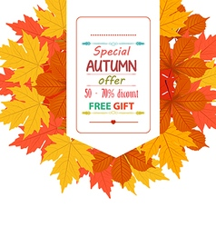 Sales banner with autumn leaves vector