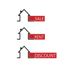 Sale rent house color vector