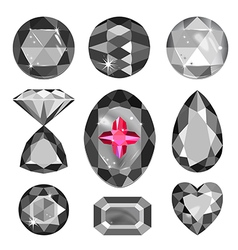Set of greyscale black and red gems vector