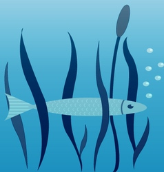 Image of fish seaweed and cane vector