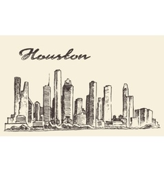 Houston skyline big city drawn vector