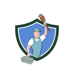 Plumber toolbox raising monkey wrench crest vector