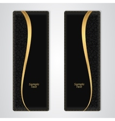 Elegant black leather vertical banner with the vector