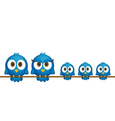 Blue birds family vector