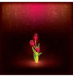 abstract floral grunge background with red tulips vector image