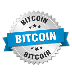 Bitcoin 3d silver badge with blue ribbon vector