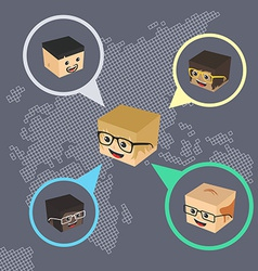 Block isometric cartoon chat vector