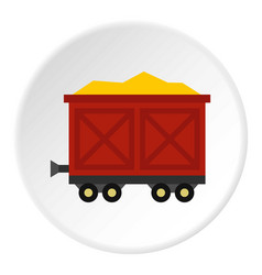 Cart on wheels with gold icon circle vector