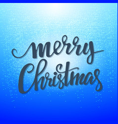 Christmas card merry lettering on a blu vector