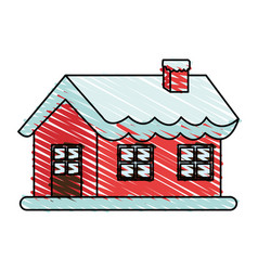 Color crayon stripe cartoon christmas house with vector
