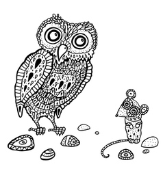 Decorative Owl and Mouse Cartoon vector image
