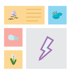 Flat icon natural set of gull lightning overcast vector