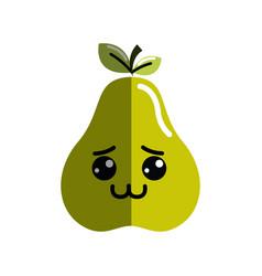 Kawaii cute shy pear fruit vector