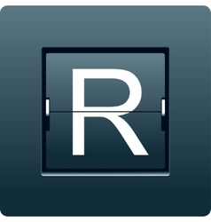 Letter r from mechanical scoreboard vector