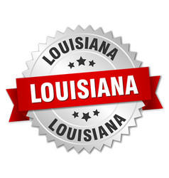 Louisiana round silver badge with red ribbon vector