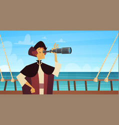 Man on ship with spyglass happy columbus day vector