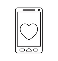 monochrome silhouette of smartphone with heart in vector image vector image