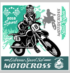 motocross rider - emblem and logos vector image