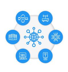 Network internet technology line icons set vector