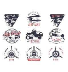 Old fly stamps travel or business airplane vector