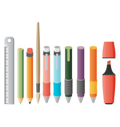 Paint and writing tools flat icons vector