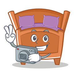 Photography cute bed character cartoon vector