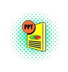 Ppt file icon in comics style vector