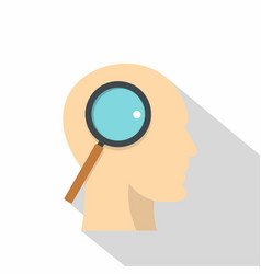 profile of the head with magnifying glass icon vector image