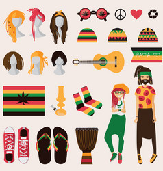 rastafarian subculture couple of young rastaman vector image vector image