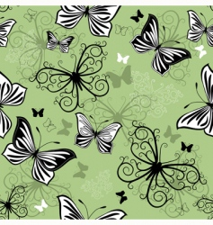 seamless green black white pattern vector image vector image