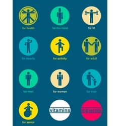 Set of icons vitamins and minerals vector image vector image