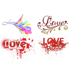 set of love grunge text vector image vector image