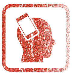 Smartphone head integration framed textured icon vector