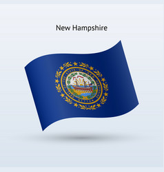 state of new hampshire flag waving form vector image vector image