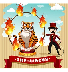 Tiger in fire hoop and ring master vector