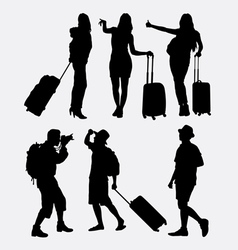 Tourist traveling silhouette vector
