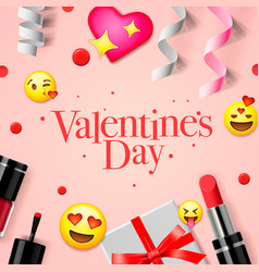 Valentines day banner with love emoji icons vector