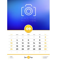 Wall calendar template for 2017 year september vector
