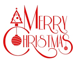 Merry Christmas text art red color Use for vector image