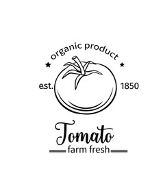 Tomato badge label for markets and menu vector