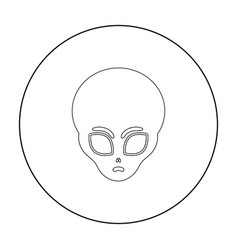 Alien icon in outline style isolated on white vector