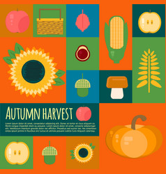 Wooden crate with autumn fruits and vegetables vector