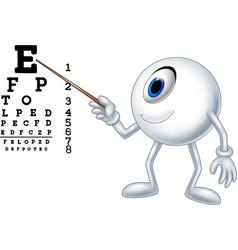 cartoon eye ball optician pointing to snellen char vector image