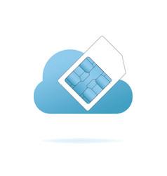 Sim card in the blue cloud vector