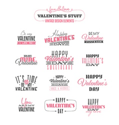 Set of vintage valentines day design elements vector